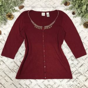 Emma James Burgundy Embellished Collar Cardigan
